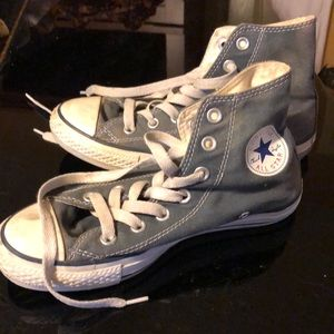 Converse high tops.  Grayish blue